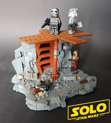 """SOLO : a Star Wars Story - """"Feed him to the Beast"""" (KevFett2011) Tags: starwars kevfett2011 han solo star wars story chewbacca beast landscape mimban fight battle scene first meeting lego art hobby artist photography 2018 moc build bricks building stormtrooper muddtrooper"""
