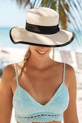 Smiling Blond Woman At The Beach (nuskinamericas) Tags: beach beautiful beauty bikini blond caucasian destination freckle happy hat leisure lifestyle natural outdoor palm people portrait sea seaside skin smile smiling summer summertime sun tan travel vacation vertical woman young sunright