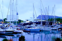 ...because you are beautiful!  ♪♫ (Fnikos) Tags: port porto puerto mar mare sea water waterfront sky cielo cloud boat sailboat ship night nightfall light building architecture tree nature outdoor
