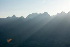 Sun rays on moutain (cicoub13) Tags: ifttt 500px mountain range peak snowcapped hill landscape ridge fog alpenglow aiguille du dru valley scenic
