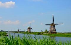 KINDERDIJK MILLS LANDSCAPE (JaapCom) Tags: jaapcom kinderdijk dutchnetherlands mill mills moulin molino molen paysbas clouds water zuidholland landscape holland