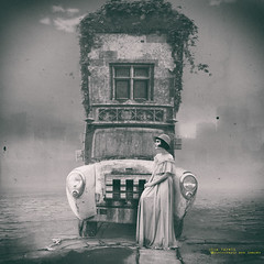Miranda is a romantic soul (olgavareli) Tags: olga vareli magic realism surreal truck house woman post apocalyptic fantasty romantic pollution road