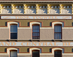Tugwell (josullivan.59) Tags: 2018 bc britishcolumbia canada canon6d victoria architecture canon70200f4l color colors detail downtown evening geometric goldenhour historic old outdoor outside sunsetlight telephoto texture white window yellow