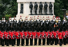 Then and now (jo92photos) Tags: 15challengeswinnertroopingthecolour horseguards horseguardsparade queensbirthdayparade 2018 soldiers regiments uniform red bearskins
