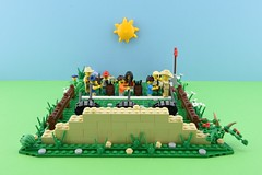 LEGO Summer camp part 2 : Archery 4/4🎯 (Alex THELEGOFAN) Tags: lego legography minifigure minifigures minifig minifigurine minifigs minifigurines moc vignette target arrow archery green summer camp camping people holidays holiday vegetation brown tan bush flowers kids wood vacation