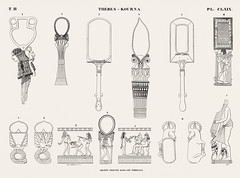 Objects found in the tombs from Monuments de l'Égypte et de la Nubie (1835-1845) by Jean François Champollion (1790-1832). Digitally enhanced by rawpixel.