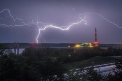 Bolts of Lightning over the St Croix Crossing and Allen King Power Station (Sam Wagner Photography) Tags: lightning bolt storm weather inclimate flash thunder st croix river valley bridges stillwater border wisconsin minnesota landscape dramatic long exposure medium shot architecture nature outdoors spring water