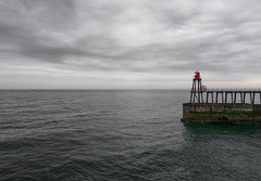 The Red Rocket (Dean Conley) Tags: whitby northyorkshire nikon nikond3400 tokina1120mm tokina pier red rocket flickr england sea sky clouds drama englishcoast northsea dslr learning composition photography calm peaceful handheld amature wood tower