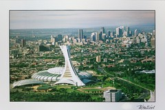 Canada - Quebec - Montreal - Le Stade Olympique et la Centre-Ville (a_garvey) Tags: postcard postcrossing canada quebec architecture montreal stadium olympic
