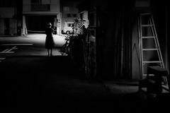 20170701 Night road (soyokazeojisan) Tags: japan osaka bw street night road light city people blackandwhite walk shadows lady monochrome bicycle digital olympus em1markⅱ 714mm