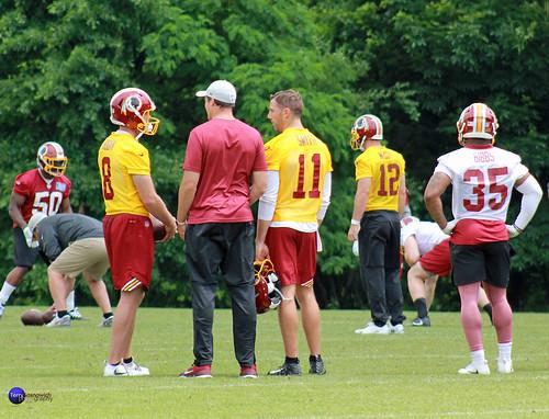 Redskins Quarterbacks on the field during OTAs.