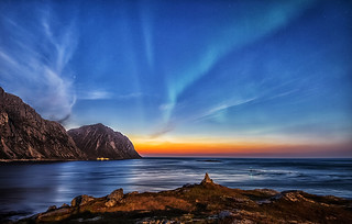Brewing Aurora outside Flakstad island