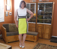 I bought it (krislagreen) Tags: tg tgirl transgender transvestite cd crossdress dress ck colorblock yellow white redhead femme feminized feminization