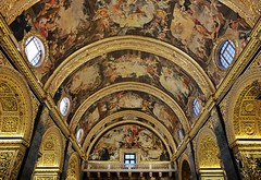 St John's Co-Cathedral (Douguerreotype) Tags: balcony symmetry ceiling malta art roof buildings architecture arch gold cathedral valletta city urban window church