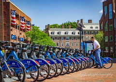 Red, White and Mostly Blue (mgstanton) Tags: charlesriver harvardsquare cambridge blue bluebike cycle bicycle flag redwhiteandblue
