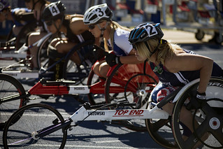 A Sailor waits for the signal to begin the 100-meter cycling event.