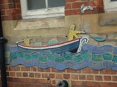 Skinningrove Fishermen (Glass Horse 2017) Tags: cleveland skinningrove mural ceramic mosaic tiles whitecliffeprimaryschool artist glynisjohnson flood 2000 local community coble waves fishermen fish seagull