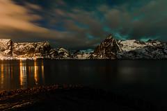 Late evening at Reine, Norway (webeagle12) Tags: nikon d7200 europe nature earth planet mountains norway lofoten islands reine hamnoy artic village bay olstinden sunset evening
