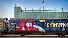 Cosmonaut on Swiss train (stega60) Tags: cosmonaut swissrail basel schweiz switzerland suisse suiza basilea rheinhafen train zug eisenbahn hdr stega60