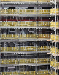 Scaffolding and Yellow Fencing - Stephenson Quarter - Newcastle