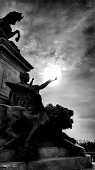 apocalypse now (Massimo Vitellino) Tags: statue outdoors hdr blackandwhite abstract contrast conceptual lights shadows perspective sky sun clouds noperson atmosphere fantasy