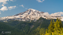Mount Rainier looms large over Ricksecker Point (Loowit Imaging - Steve Rosenow, Photographer) Tags: mountrainier mtrainier tahoma mountrainiernationalpark nikon nikond5500 nature scenic scenery volcano volcanic lake forest rickseckerpoint