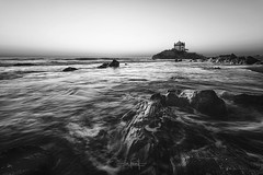 Trust in your feelings, even if they might be wrong (RuiFAFerreira) Tags: beauty bw black blackwhite wide waterscape white water seascapes church chapel rocks mood monochromat monochrome canon efs1018mmf4556isstm exterior light landscape nature portugal sunset uwa