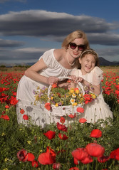Just had to be done! They work really well together. (Red Gecko Photography) Tags: poppies love mother daughter pose flowers basket white dress naturallight andalucia spain