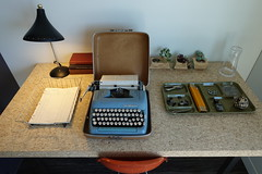 Vintage Office Supplies (Heath & the B.L.T. boys) Tags: vintage desk typewriter tray wire basket scissors succulent