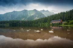 Popradske pleso (slukmiroslav) Tags: slovakia slovensko europe mountains tatry tatras sunset dark moody fog cloudy clouds rain nature buildings