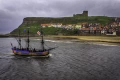 Sail by in Whitby (Kev Walker ¦ 8 Million Views..Thank You) Tags: architecture boats britishculture building canon1855mm canon700d cliffs coastline digitalart fishingport hdr harbour historic northyorkshire outdoor panorama panoramic picturesque postprocessing sea seaside seasidevillage sky staithes tranquil unspoilt water waterfront waterside