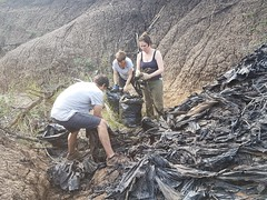 Ukuwela interns clearing plastic