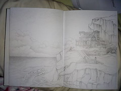 Vista (Flori Mey) Tags: dibujo casa montaa mountain draw house montaña cerros acantilado arquitecture mar summer bw sea