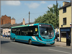 Arriva Midlands 3316, Church Street (Jason 87030) Tags: wright streetlite turquoise arrive midlands x84 hinckleybus rugby warks warwickshire town roadside blue fj64eud 3316 2018 may
