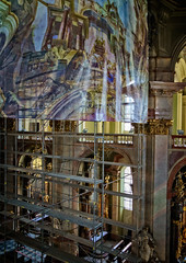 Reality below, dream above (Tiigra) Tags: prague hlavníměstopraha czechia cz 2017 architecture balcony baroque church construction fabric interior painting religious sculpture statue art arch