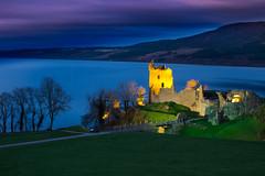 Urquhart twilight (snowyturner) Tags: castle urquhart loch ness inverness drumnadrochit longexposure evening floodlit remains ruins landscape sky bluehour scotland highlands