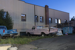 Trucks and Mattresses (Curtis Gregory Perry) Tags: burns oregon night truck trucks pickup dumpster mattress garbage apartment building chimney window long exposure ford chevy chevrolet 1976 1077 1078 1979 1974 1973 s10 1984 1985 nikon d810