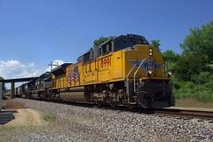 UP 8991 South (BSTPWRAIL) Tags: up union pacific ns norfolk southern railroad railway rail road way sd70ace sd70m2 c409w locomotive loaded grain train farmdale illinois