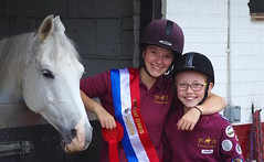 """My Abbey with """"Ash"""" and one of the young rider she looks after.... (favmark1) Tags: abbey daughter rider ride win winner competition jumpcompetition kent horse ash whiteleaf"""