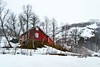 house on the hill (ekelly80) Tags: norway flåm may2018 spring train trainride flåmsbana sognogfjordane fjord mountains view snow aurland snowcovered red house hill white foggy fog clouds little town snowy