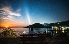 The Observer (free3yourmind) Tags: observer night sky moon full rise man selfie looking watching up stars starry torch greece peloponnese sea tyros tiros