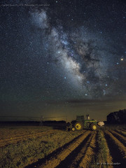The Rows to the Stars (jamesclinich) Tags: milkyway nighttime stars tripod intervalometer texas tx sky lowlevellighting sequator stacked adobe photoshop topaz denoise detail clarity jamesclinich olympus em10 mzuiko714mmf28pro tractor johndeere field