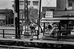 station 653 (soyokazeojisan) Tags: japan osaka station city people bw blackandwhite analog shop olympus 50mm trix film kodak 1970s 1975 memories 昭和 m1 om1