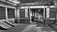 Plantation Hill, Scarborough. (ManOfYorkshire) Tags: plantationhill scarborough northyorkshire yorkshire gardens bollards stone entrance valleygardens path walk england uk gb bw blackwhite