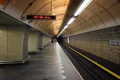Karlovo Metro Station (henriksundholm.com) Tags: karlovonáměstí karlovonamesti prague czechrepublic tracks subway metro station platform people signs clock city urban underground