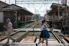crossing the track (kasa51) Tags: people street railway crossing kawasaki japan station keikyudaishiline 京急大師線