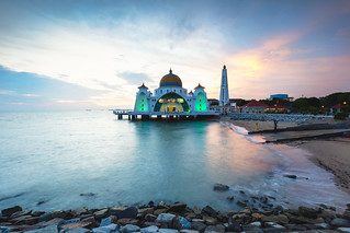 Malacca straits mosque at dusk