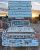 Old Blue (magnetic_red) Tags: truck old blue rusted big chevy work dump front grill sunset desert abandoned clouds mojavenationalpreserve