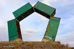 Ship containers (Fabrice H. - Photography) Tags: containers ship ships boot boat monument art artful green sky clouds metal ghent gent haven port 2018