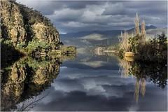 The River or a Mirror. (Trains In Tasmania) Tags: australia tasmania newnorfolk derwentvalley derwentriver riverderwent river clouds reflection reflections water mirror calm tasmanianscenery tasmaniancountryside ef35350mm13556lusm eos550d stevebromley trainsintasmania pulpitrock